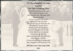A4 Poem To Our Daughter In Law On Your Wedding Day Personalised Postcard Style