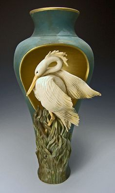 Bonnie Belt Heron Cutout Pedestal Vase.  For bio and more examples of her wonderful work: FOLLOW THIS LINK FOR MORE http://gallery4collectors.com/BonnieBelt.htm   (TAG: ARTIST; CERAMICS)