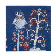 """Iittala Taika paper napkins, blue, 30 x 30 cm (€4.90). """"Magic"""" in Finnish, Taika incorporates fanciful illustrations of foxes and owls by Klaus Haapaniemi."""