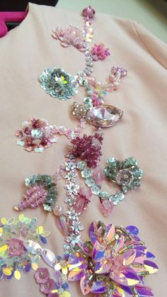 Tulle hand-embroidered using velvet and satin applique work in glorious summer colors Tambour Embroidery, Bead Embroidery Patterns, Hand Embroidery Flowers, Hand Work Embroidery, Embroidery Suits Design, Couture Embroidery, Bead Embroidery Jewelry, Hand Embroidery Designs, Embroidery Stitches