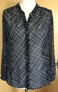 7c837fab3b27a Laura Ashley Blouse Top 10 Sheer Office Career Work Business EUC Navy (bf)