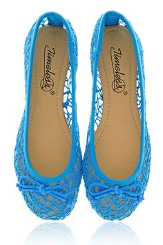 TIMELESS TRINA Blue Mesh Ballerinas - SHOES | FLATS | Ballerinas | PRET-A-BEAUTE.COM