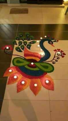 20 Beautiful & Simple Peacock Rangoli Designs - K4 Craft Easy Rangoli Designs Diwali, Simple Rangoli Designs Images, Rangoli Designs Latest, Rangoli Designs Flower, Small Rangoli Design, Colorful Rangoli Designs, Rangoli Patterns, Diwali Diy, Rangoli Ideas