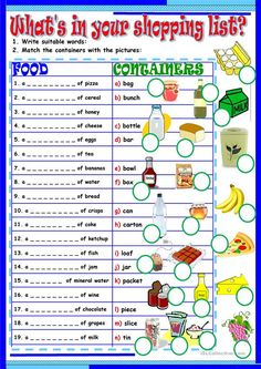 A collection of English ESL worksheets for home learning, online practice, distance learning and English classes to teach about shopping, list, shopping list English Grammar Worksheets, Vocabulary Worksheets, English Vocabulary, Printable Worksheets, Money Worksheets, Preschool Worksheets, English Teaching Materials, Teaching English, Teaching Spanish