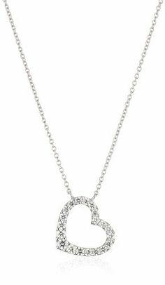 Paradise Jewelers 14K Yellow Gold Heart Cubic Zirconia Heart Design Key Pendant