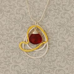 Red Quartz and Gold Heart with Sterling Silver Hoops Necklace. Magnolia Jewel Designs.