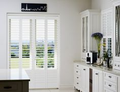 Beauty, even for your kitchen! Easy to wipe down too. Shutters, Tall Cabinet Storage, Kitchen Cabinets, Furniture, Detail, Easy, Home Decor, Collection, Blinds
