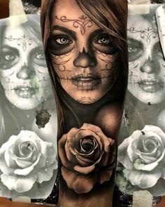 - - Tattoo vorlagen - Tattoo Designs for Women Skull Girl Tattoo, Girl Face Tattoo, Sugar Skull Tattoos, Tattoo Girls, Girl Tattoos, Tattoos For Guys, Realistic Tattoo Sleeve, Best Sleeve Tattoos, Tattoo Sleeve Designs