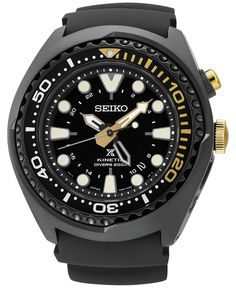 Seiko Men's Automatic Prospex 50th Anniversary Kinetic Gmt Diver Black Silicone Strap Watch 48mm SUN045