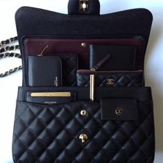 17d334e41bc1 Inside my bag ... Chanel Jumbo Timeless double flap bag in caviar leather/
