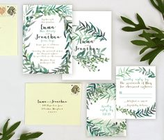 These Modern Leafy Garden Wedding Invitations are simple and elegant