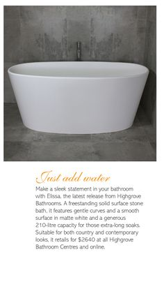 Featured in Australian Country Home Magazine Country Home Magazine, Stone Bath, Dream Bathrooms, Solid Surface, Superior Quality