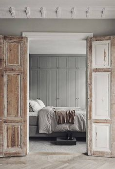 A Gorgeous Grey Scandinavian Apartment (Gravity Home) Interior, Home, Interior Barn Doors, Home Bedroom, Bedroom Interior, Doors Interior, House Interior, Wood Doors Interior, Interior Design