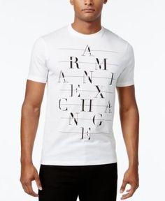 8b2c7226da4 Armani Exchange Men s Black Graphic-Print Logo Cotton T-Shirt   Reviews - T- Shirts - Men - Macy s