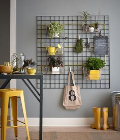 Hang kitchen baskets on a mounted wall trellis and fill with plants for an indoor vertical garden.