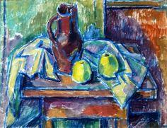 Carl Rabus Stillleben Äpfel mit Krug, 1930er Jahre, Öl auf Leinwand