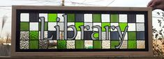 Stained Glass Panel  Bright Greens Library by TerrazaStainedGlass