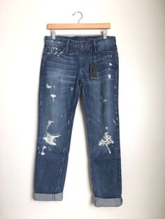 BLACK ORCHID Denim Harper Skinny Boyfriend Jeans Destroyed Blue 26 $216 #127 #BlackOrchid #BoyfriendRelaxed