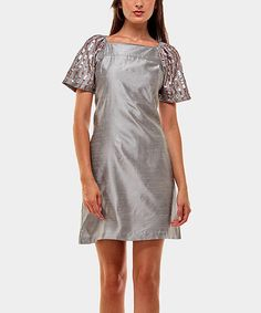 Take a look at this Silver Sharon Drape Sleeve Dress by Almatrichi on #zulily today!