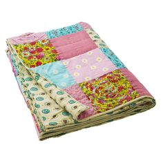 Hand Quilted Patchwork Blanket in Spring Summer Colors - Rice A/S