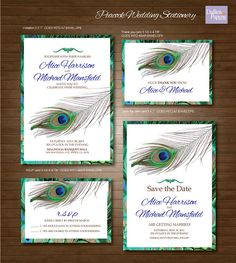 Peacock feather Wedding Printables, Customized Wedding Invitation, RSVP, Thank you card, Save the date on Etsy, $30.00