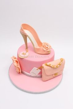 Shoe and clutch bag cake +tutorial - Cake by Starry Delights