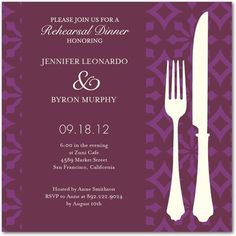 Patterned Style - Signature White Rehearsal Dinner Invitations with Square Corners, Want to save on postage? Choose our modified rectangular envelopes for your square card order. Rehearsal Dinner Invitations, Wedding Rehearsal, Rehearsal Dinners, Wedding Invitations, Wedding Day, Wedding Stuff, Invites, Purple And Green Wedding, Wedding Paper Divas