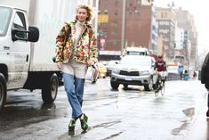 Florals for spring may not be groundbreaking, but florals for winter is something we can get behind. #refinery29 http://www.refinery29.com/2016/02/103173/ny-fashion-week-fall-winter-2016-street-style-pictures#slide-56