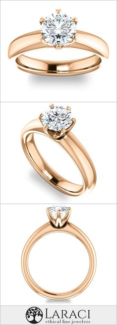 14K Rose Gold Solitaire Engagement Ring set with a 1ct (6.5mm) Round Forever One Near Colorless Moissanite