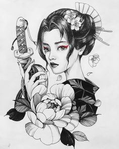 Fr tattoos Chronic Ink tattoo Cindy asian-style tattoo Geisha with katana Geisha Tattoos, Geisha Tattoo Design, Japan Tattoo Design, Geisha Kunst, Geisha Art, Tattoo Girls, Girl Tattoos, Bodysuit Tattoos, Kunst Tattoos