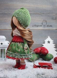 Handmade Doll Christmas Doll Russian Doll Tilda Doll Interior Doll Soft Doll Green Doll Baby Doll Collectable Doll Fabric Doll by Margarita Child Doll, Girl Dolls, Newborn Baby Dolls, Clothespin Dolls, Ken Doll, Sewing Dolls, Green Colors, Red Green, Soft Dolls