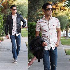 hawaiian shirt with leather jacket - Google Search