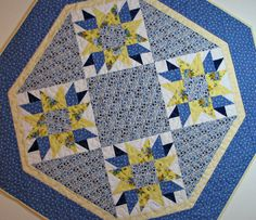 Shabby Cottage Chic Quilted Table Topper Octagon Table Mat