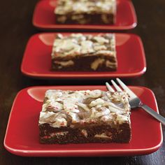 With a layer of peppermint bark pieces in the middle, and a swirl of melted peppermint bark on top, these delicious fudgy brownies add a festive touch to your holiday dessert.