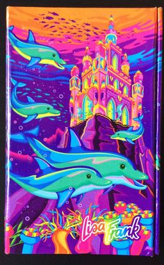 8f7bf3bd9ba6 Vtg Lisa Frank Fantasea Castle Dolphins Trifold Address Book Memo Pad  Calculator Lisa Frank