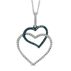 1/4+CT.+T.W.+Enhanced+Blue+and+White+Diamond+Double+Heart+Pendant+in+10K+White+Gold
