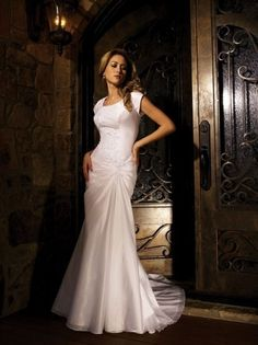 2012Beaded Mermaid/Trumpet Modest Wedding Dress With Sleeves W1014 $223.19