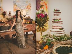 sequined dress + naked cake