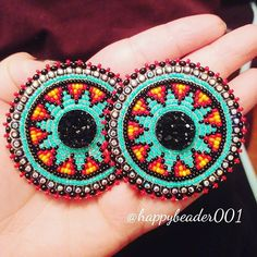 First official pair of earrings in 2018! Turned out way better and different than I was expecting, I love it when they turn out perfect without having to think too hard lol these are sold, just sharing . . . . . #beadwork #beadedearrings #beaded #beautiful#beadedmedallion #followforfollow #crafts#hobbies #jewlerymaking #jewelry #handmade #love#madewithlove#studentlife #native #crafts #happynewyear #happynewyear2018