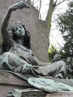 Like this young girl grieving atop the grave of Artist Gustave Guillaumet (1840-1887). Cemetery of Montmartre