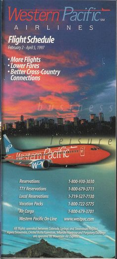 Western Pacific Airlines system timetable 2/2/97 [5112] (buy 4+ save 50%) | eBay