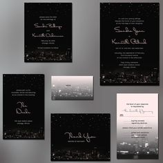 (Los Angeles instead?) Chicago City Skyline Wedding Invitations with Night by ALookOfLove, $25.00