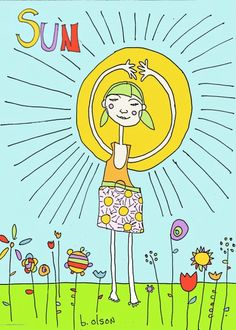 """Sun Yoga pose from collection of illustrations for the """"Little Lotus Kids Yoga Flashcards"""""""