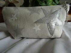 trousse de maquillage en tissu de lin avec étoiles : Trousses par les-tiroirs-de-manine