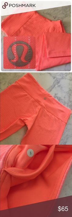 Lululemon Crops Bright Coral Pink Lululemon Athletica Crops. No Rips. No Stains. No Peeling. Like New Condition. Size Medium (8). lululemon athletica Pants