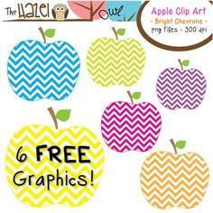 FREE Apples Set: Clip Art Graphics for Teachers {Bright Chevrons}