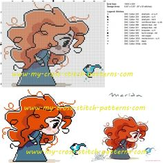Merida cross stitch pattern