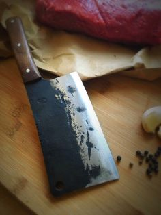 Hand forged Bill the Butcher style meat cleaver. Always available for order from Carter & Son Forge.  https://www.etsy.com/listing/255663362/butcher-knife-meat-cleaver-chef-knife