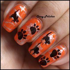 Crazy Polishes: Halloween Challenge: Day 2- Black Cats http://crazypolishes.blogspot.in/2012/10/halloween-challenge-day-2-black-cats.html