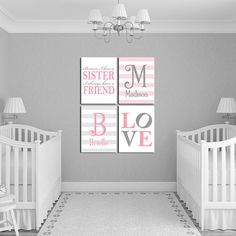 Personalized Sisters Bedroom Art Because I Have A Sister Twin Baby Gifts